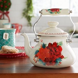 New The Pioneer Woman Cheerful Rose Tea Kettle